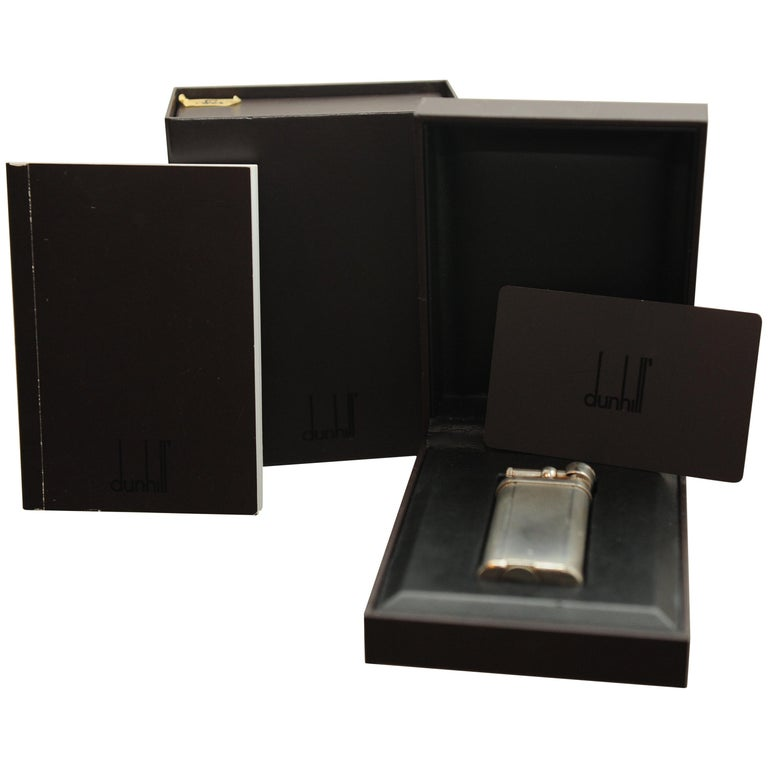Dunhill Unique Silver Plated Gas Lighter with Original Gift Box, Papers & Flints For Sale