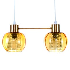 Duo Crystal and Brass Light Fixture, 1960s Scandinavian Mid-Century Modern Light