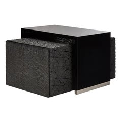 Duo Side Tables with Piano Black Lacquer and Resin Art Texture