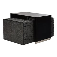 Duo Side Tables with Piano Black Lacquer and Resin Art Texture, Customizable