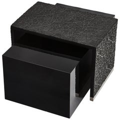 Duo Side Tables with Resin Art Texture and Piano Black Lacquer
