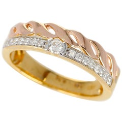 Duo Stack Ring with Fusion Yellow and Rope Rose Gold with Diamonds, 14 Karat