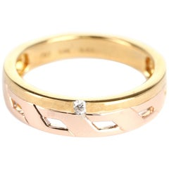 Duo Stack Ring with Fusion Yellow and Rose Gold with a Diamond, 14 Karat