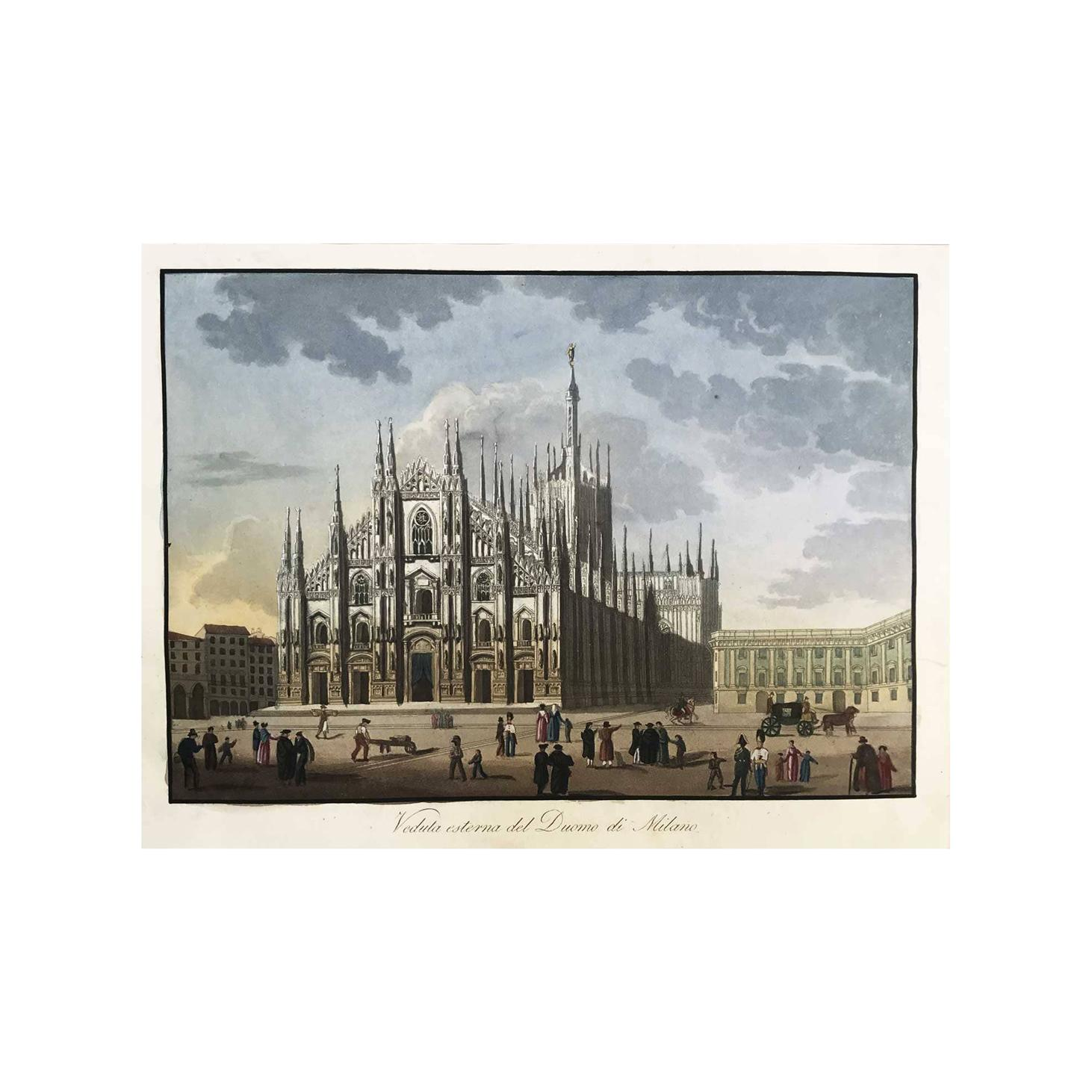 Duomo Milan Cathedral Front View Early 19th Century Original Etching