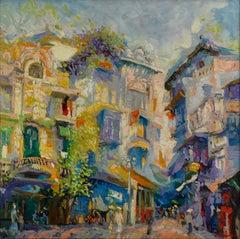 'Thanh Ha Lane' Impressionist Painting of a Street Scene