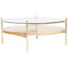 Duotone Circular Coffee Table, Brass Frame / Clear Glass / Ash Wood