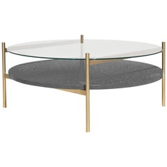 Duotone Circular Coffee Table, Brass Frame / Clear Glass / Black Mosaic