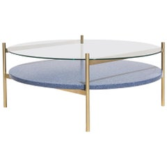 Duotone Circular Coffee Table, Brass Frame / Clear Glass / Blue Mosaic