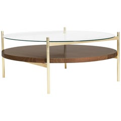 Duotone Circular Coffee Table, Brass Frame / Clear Glass / Walnut Finish