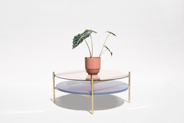 Made to order. Please allow 6 weeks for production.  Brass Frame / Rose Glass / Blue Mosaic  The Duotone Furniture series is based on a modular hardware system that pairs sturdy construction with visual lightness and a range of potential