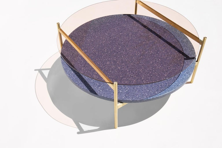 Modern Duotone Circular Coffee Table, Brass Frame / Rose Glass / Blue Mosaic For Sale
