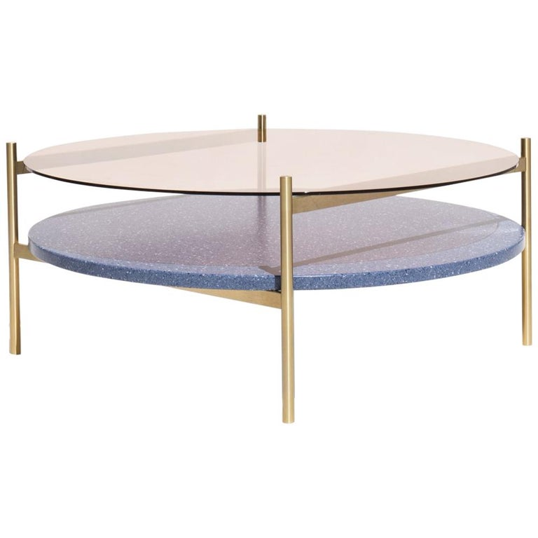 Duotone Circular Coffee Table, Brass Frame / Rose Glass / Blue Mosaic For Sale