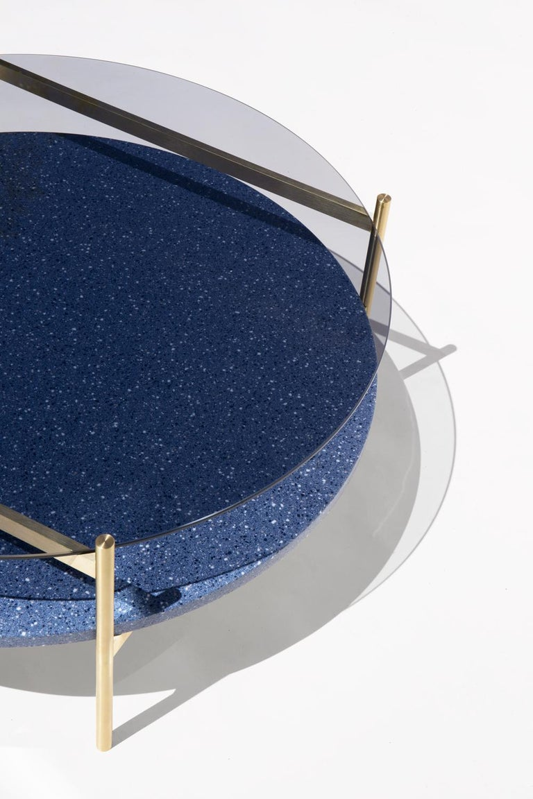 Modern Duotone Circular Coffee Table, Brass Frame / Smoked Glass / Blue Mosaic For Sale