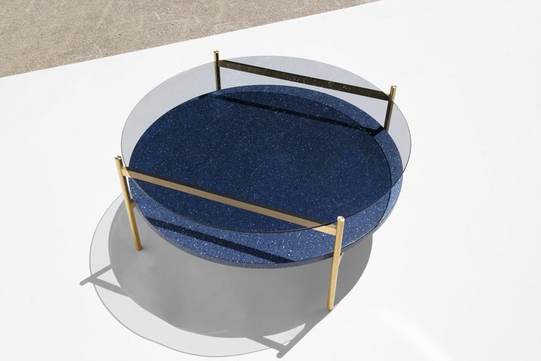 Brushed Duotone Circular Coffee Table, Brass Frame / Smoked Glass / Blue Mosaic For Sale