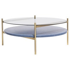 Duotone Circular Coffee Table, Brass Frame / Smoked Glass / Blue Mosaic