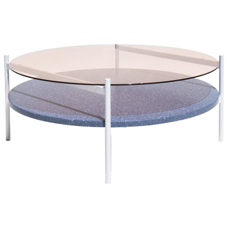 Duotone Circular Coffee Table, White Frame / Rose Glass / Blue Mosaic For Sale