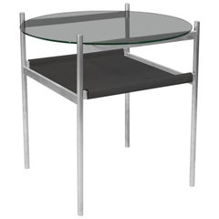 Duotone Circular Side Table, Aluminium Frame / Smoked Glass / Black Leather
