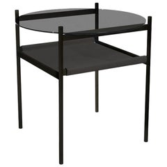 Duotone Circular Side Table, Black Frame / Smoked Glass / Black Leather