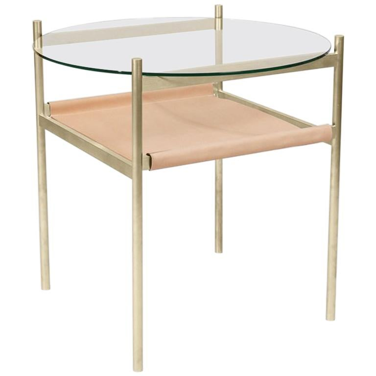Duotone Circular Side Table, Brass Frame / Clear Glass / Natural Leather For Sale