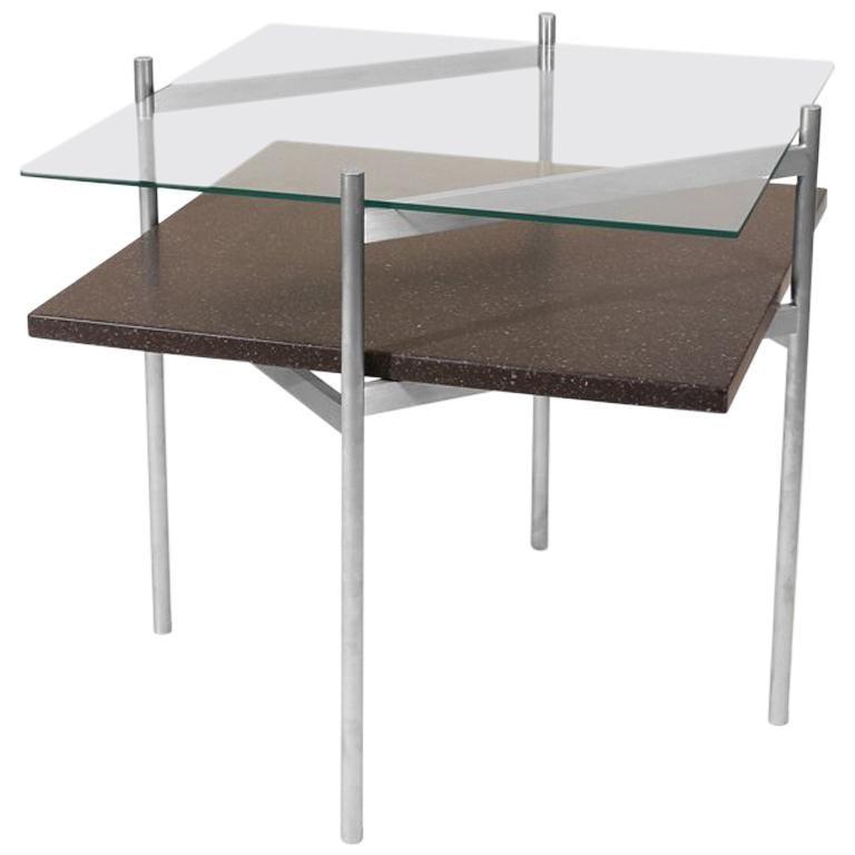 Duotone Diamond Side Table, Aluminium Frame, Clear Glass, Black Mosaic For Sale