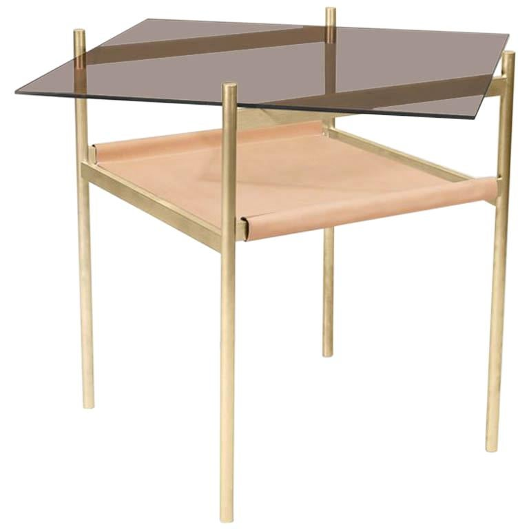 Duotone Diamond Side Table, Brass Frame/Bronze Glass/Natural Leather For Sale