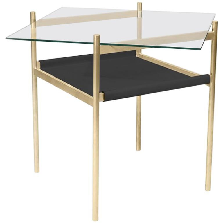 Duotone Diamond Side Table, Brass Frame/Clear Glass/Black Leather For Sale