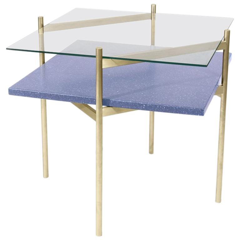 Duotone Diamond Side Table, Brass Frame / Clear Glass / Blue Mosaic For Sale