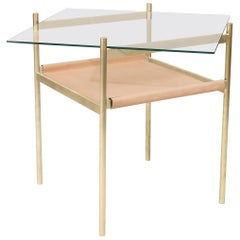 Duotone Diamond Side Table, Brass Frame / Clear Glass / Natural Leather
