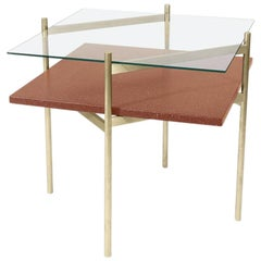 Duotone Diamond Side Table, Brass Frame / Clear Glass / Rust Mosaic