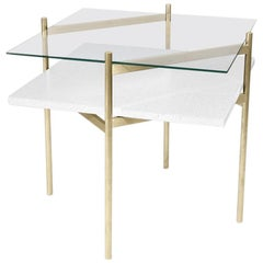 Duotone Diamond Side Table, Brass Frame / Clear Glass / White Mosaic
