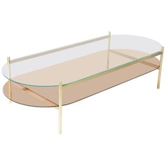 Duotone Pill Coffee Table, Brass Frame/Clear Glass/Rose Glass