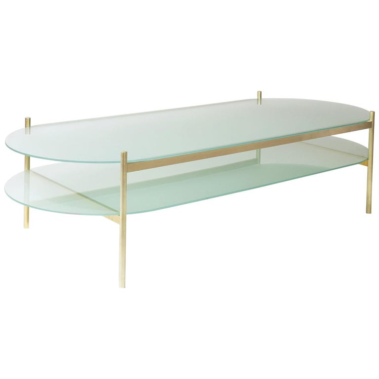 Duotone Pill Coffee Table Brass Frame Frosted Glass Frosted