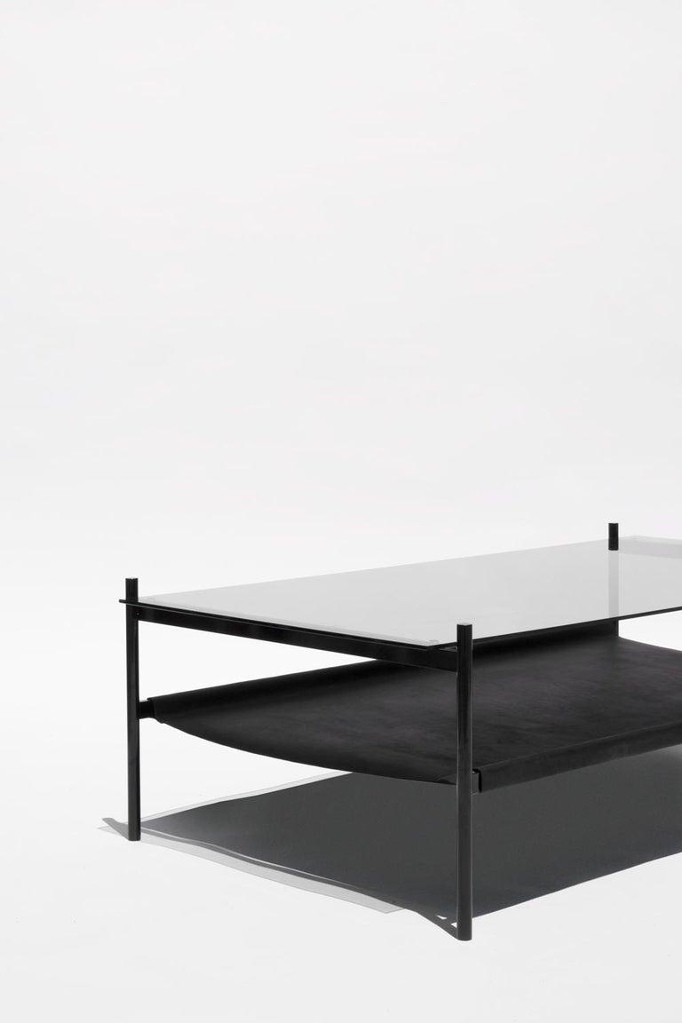 Rectangular Glass Coffee Table: Duotone Rectangular Coffee Table, Black Frame / Smoked