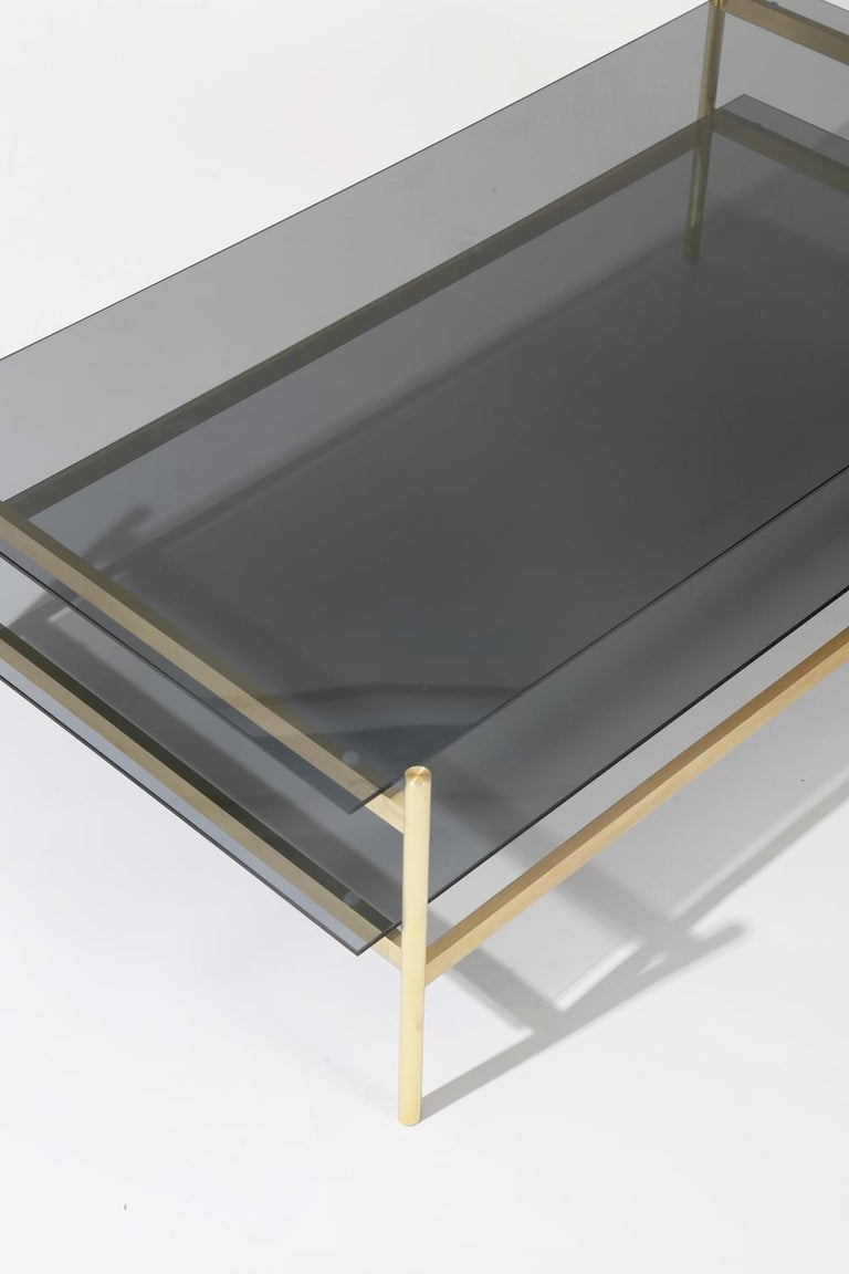 Modern Duotone Rectangular Coffee Table, Brass Frame / Smoked Glass For Sale