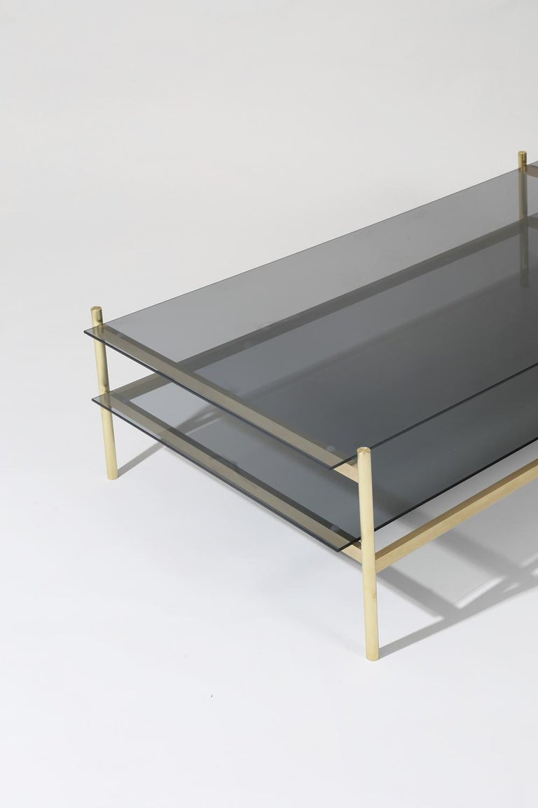 American Duotone Rectangular Coffee Table, Brass Frame / Smoked Glass For Sale