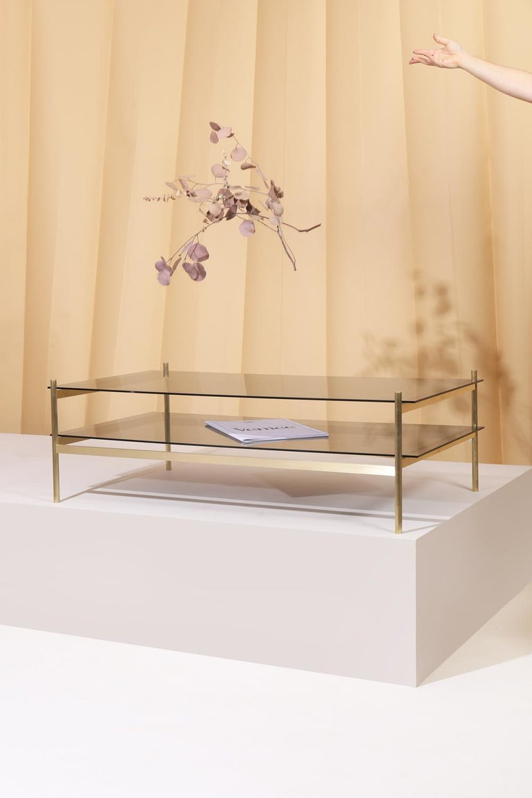 Machine-Made Duotone Rectangular Coffee Table, Brass Frame / Smoked Glass For Sale