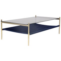 Duotone Rectangular Coffee Table, Brass Frame / Smoked Glass / Navy Suede