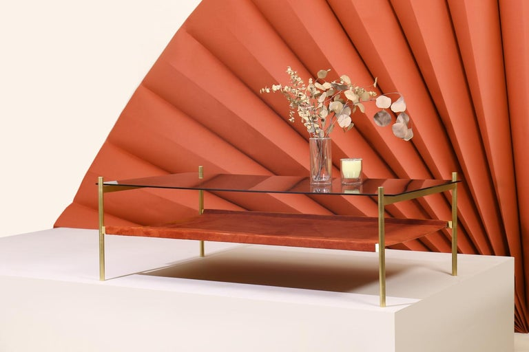 Duotone Rectangular Coffee Table, Brass Frame / Smoked Glass / Rust Suede In New Condition For Sale In St. Augustine, FL