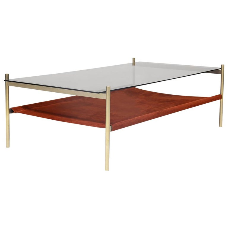 Duotone Rectangular Coffee Table, Brass Frame / Smoked Glass / Rust Suede For Sale