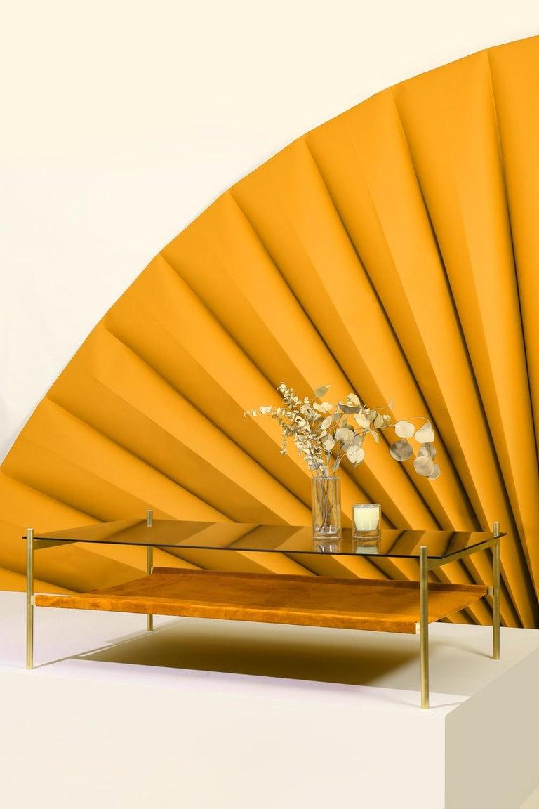 Rectangular Glass Coffee Table: Duotone Rectangular Coffee Table, Brass Frame / Smoked