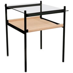 Duotone Rectangular Side Table, Black Frame / Clear Glass / Natural Leather