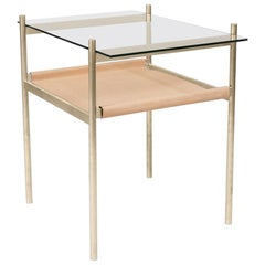 Duotone Rectangular Side Table, Brass Frame / Clear Glass / Natural Leather