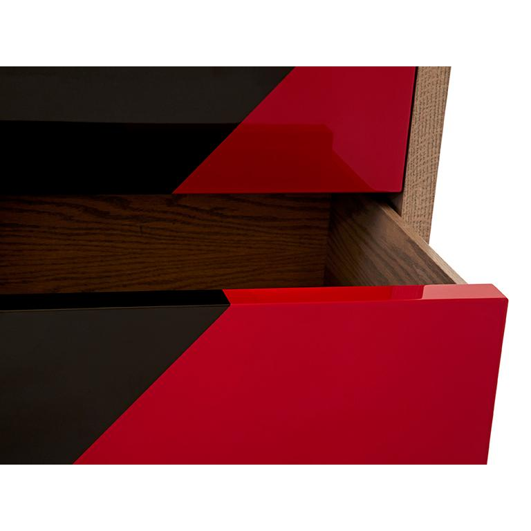 Duplex Dresser in Black & Red lacquer  In New Condition For Sale In Brooklyn, NY