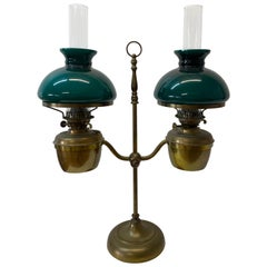 """Duplex, England """"Double Student"""" Victorian Oil Lamp with Green Shades circa 1900"""