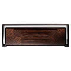 Duplo U Contemporary Sideboard in Composed Ebony by Luísa Peixoto
