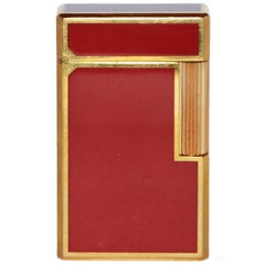 Dupont Red Lighter with Golden Details and Original Box, Made in France