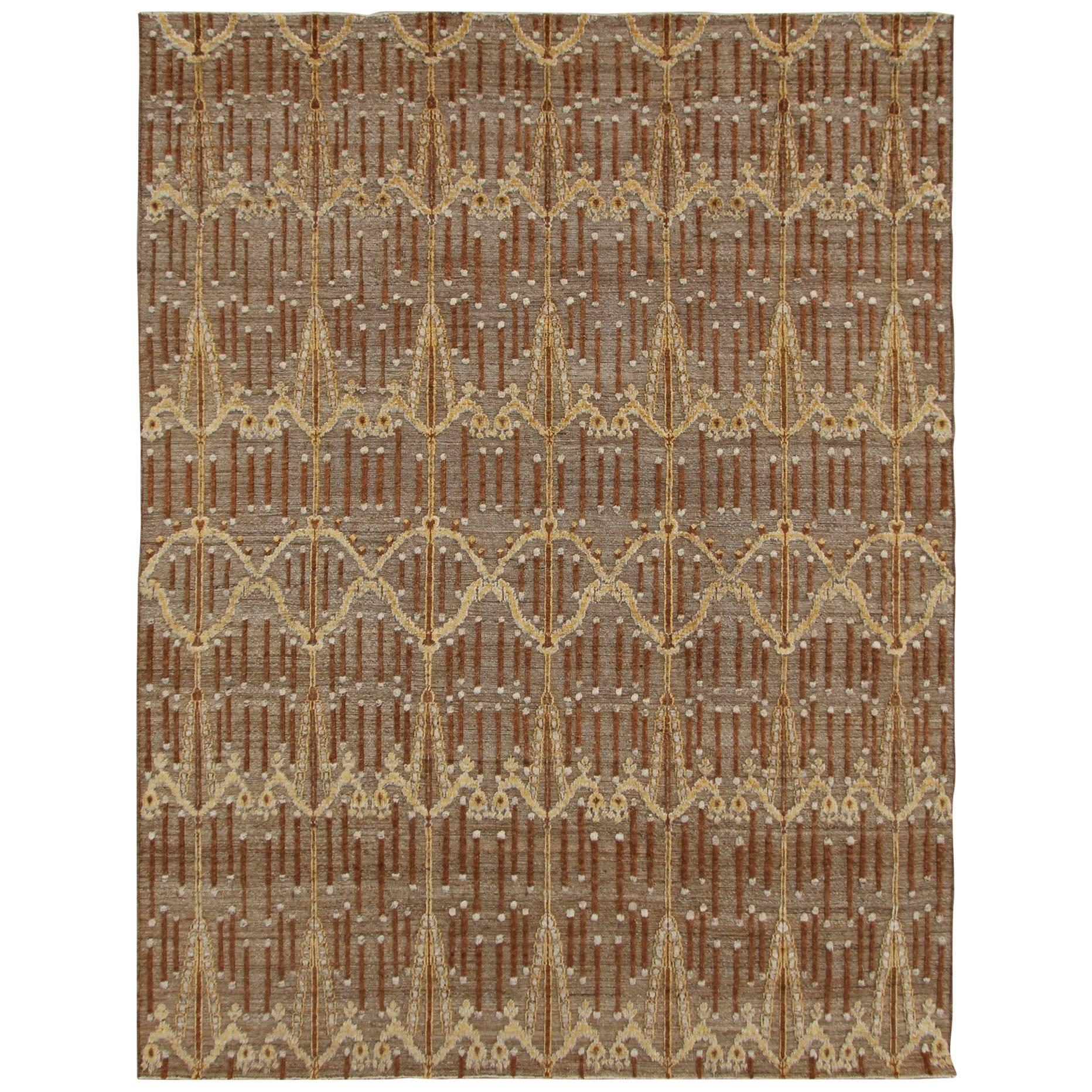 Dupre Chestnut and Cream Hand-Knotted Tufted Wool Rug