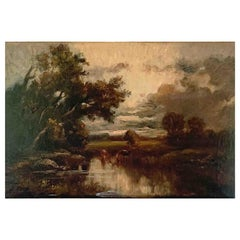 """Dupre Jules '1811-1889' """"Cows at the Pond, Near Isle-Adam"""" Oil on Panel"""