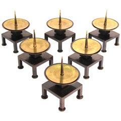 Dupré-Lafon French Art Deco Bronze Candlestick Set