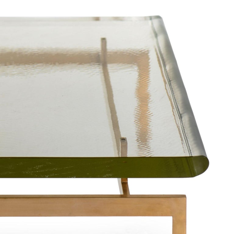 American Duran Coffee Table with Thick Borosilicate Glass Top and Silicon Bronze Base For Sale